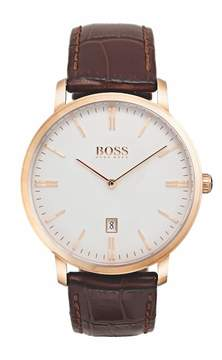 HUGO BOSS Men's Tradition Leather Watch, 40mm
