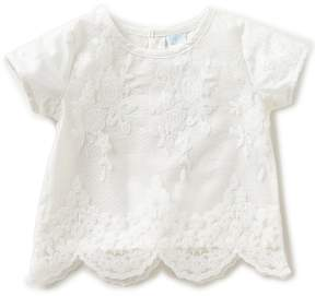 Edgehill Collection Little Girls 2T-4T Lace Short-Sleeve Top