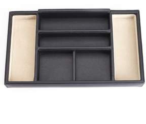 Royce Leather Royce Suede Lined Dresser Valet Tray - Black