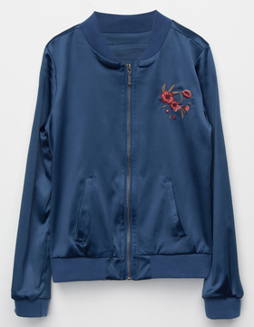 Full Tilt Satin Embroidered Girls Bomber Jacket