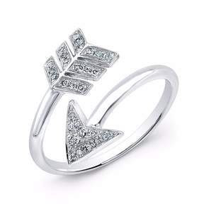 Anne Sisteron White Gold Diamond Wrap Around Arrow Ring