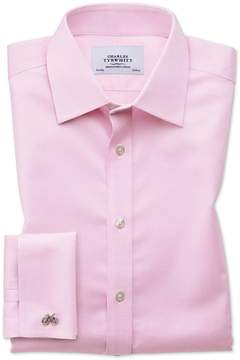 Charles Tyrwhitt Classic Fit Non-Iron Puppytooth Light Pink Cotton Dress Shirt French Cuff Size 15/33