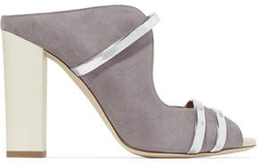 Malone Souliers Maureen Metallic Leather-trimmed Suede Mules - Gray