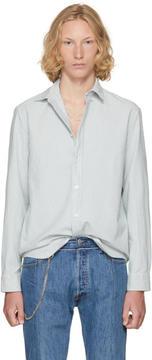 Maison Margiela Off-White and Blue Striped Shirt