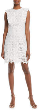 Shoshanna Poppy Back-Ruffle Sleeveless Dress