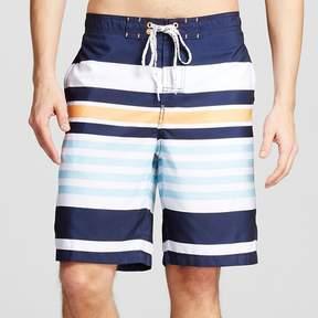Merona Men's Stripe Swim Trunks Navy