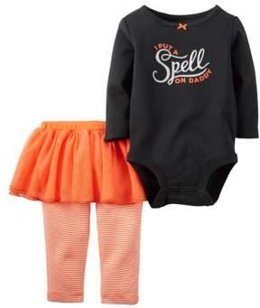 Carter's Baby Clothing Outfit Girls 2-Piece Halloween Bodysuit & Tutu Pant Set Black