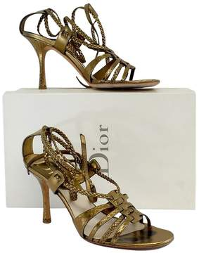 Christian Dior Bronze Braided Strappy Gladiator Heels