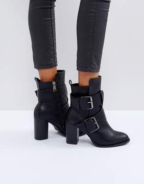 Glamorous Black Double Buckle Heeled Ankle Boots