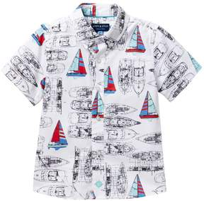 Andy & Evan Sailboat Vintage Printed Shirt (Toddler & Little Boys)