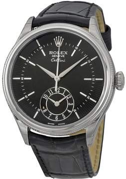 Rolex Cellini Dual Time Black Dial 18K White Gold Men's Watch