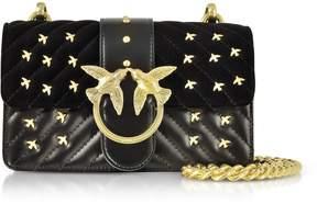 Pinko Velvet And Leather Mini Love Metal Birds Shoulder Bag