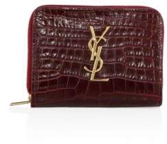 Saint Laurent Monogram Croc-Embossed Leather French Zip Wallet - ROUGE - STYLE