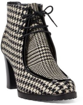 Ralph Lauren Loreanna Houndstooth Boot Black/Cream 8.5