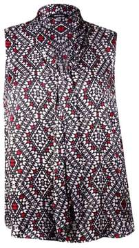 Nine West Women's Printed Tie Neck Sleeveless Blouse (2X, Fire Red Multi)
