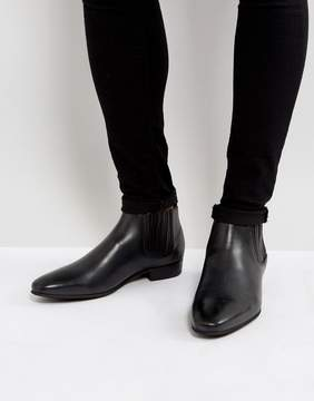 H By Hudson Zelus Leather Chelsea Boots In Black