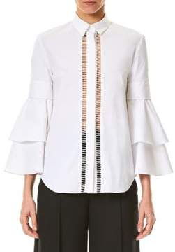 Carolina Herrera Ruffle Bell-Sleeve Blouse