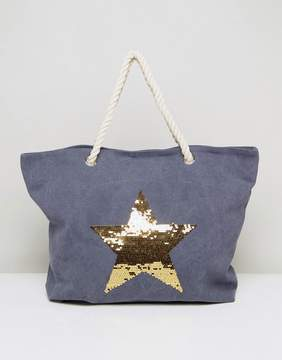 South Beach Washed Blue Beach Bag With Gold Star