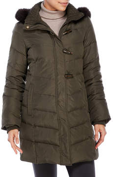Ellen Tracy Hooded Toggle Down Coat with Real Fur Trim