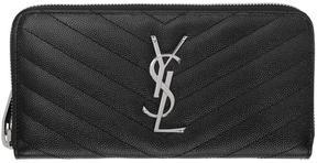 Saint Laurent Black Quilted Monogram Zip Around Wallet - BLACK - STYLE