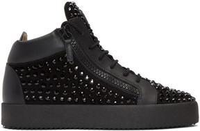 Giuseppe Zanotti Black Rhinestone May London High-Top Sneakers