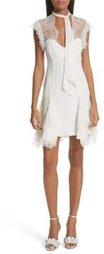 Cinq à Sept Clotilde Lace Trim Silk Dress with Scarf
