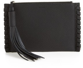 AllSaints Small Kepi Leather Zip Pouch - Black
