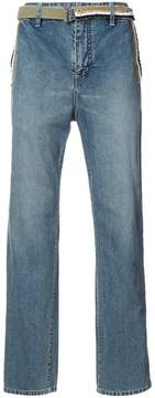 Sacai belted wide leg jeans