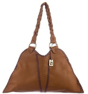 Fendi Whipstich-Trimmed Leather Tote