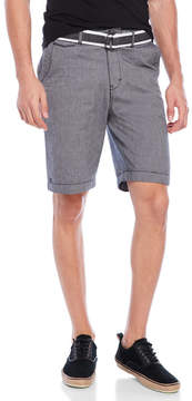 Micros Belted Tailored Fit Chambray Shorts