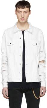 Balmain White Vintage Destroy Denim Jacket