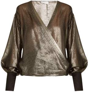 Amanda Wakeley V-neck draped lamé top