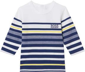 BOSS Blue and Navy Long Sleeve Stripe Tee