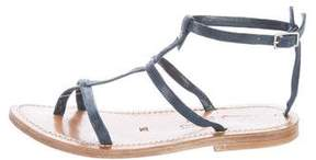 K Jacques St Tropez Embossed T-Strap Sandals
