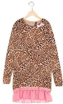 Miss Blumarine Girls' Leopard Print Sweater Dress