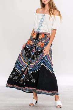 Flying Tomato Tribal Black Maxi-Skirt