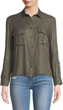 Dex Embroidered Cropped-Button Front Blouse