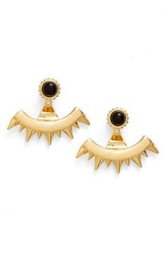 Ettika Women's Onyx Spike Ear Jackets