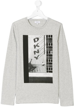 DKNY Teen logo skateboard print top