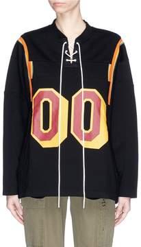 Facetasm Lace-up number print sweatshirt