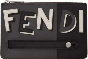 Fendi Black and Grey Leather Clutch
