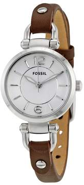 Fossil Georgia Silver Dial Brown Leather Ladies Watch
