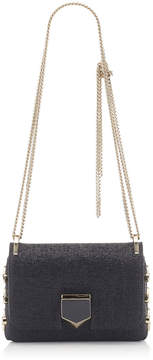 Jimmy Choo LOCKETT MINI Black Shiny Wetlook Fabric Shoulder Bag