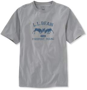 L.L. Bean L.L.Bean Lakewashed Garment-Dyed Graphic Tee, Slightly Fitted Crewneck Short-Sleeve Two Moose