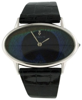 Corum Oval Classique Stainless Steel Blue Peacock Dial Womens Watch 40mm