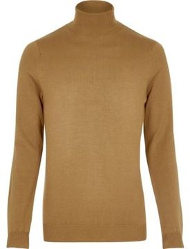 River Island Mens Brown roll neck sweater