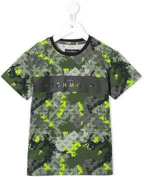 John Richmond Kids logo print camouflage T-shirt