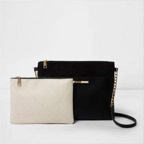 River Island Womens Black cross body bag and cream pouchette