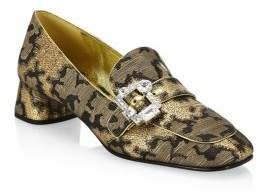 Prada Metallic Brocade Slip-On Loafers