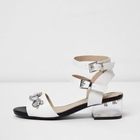 River Island Girls white clear block heel sandals